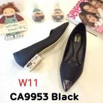 รองเท้าคัทชู ส้นเตี้ย แต่งอะไหล่ด้านด้านสวยเก๋ ส้นเคลือบเงาสวยดูดี หนังนิ่ม ทรงสวย ใส่สบาย ส้นสูงประมาณ 1 นิ้ว แมทสวยได้ทุกชุด (CA9953)