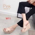 รองเท้าแฟชั่น ส้นเตารีด หน้าไขว์สวยเก๋ หนังนิ่ม ทรงสวย ส้นสูงประมาณ 4 นิ้ว เสริมหน้า ใส่สบาย แมทสวยได้ทุกชุด (3082B-8)