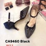 รองเท้าคัทชู ส้นเตี้ย รัดส้น หนังกลิสเตอร์วิ้งแต่งคลิสตัลสวยหรู ทรงสวย ส้นสูงประมาณ 2 นิ้ว ใส่สบาย แมทสวยได้ทุกชุด (CA9460)