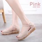 รองเท้าแฟชั่น ส้นเตารีด แบบสวม รัดส้น แต่งลายน่ารัก ส้นลายไม้ค๊อกสวยหวานสไตล์วินเทจ ทรงสวย ใส่สบาย แมทสวยได้ทุกชุด (288-584)