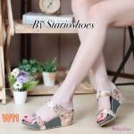 รองเท้าแฟชั่น ส้นเตารีด แบบสวม คาด 2 ตอน ลายดอกไม้สวยหวาน ทรงสวย ใส่สบาย แมทสวยได้ทุกชุด (M1823)