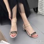 รองเท้าแฟชั่น ส้นสูง แบบสวม รัดส้น แต่งโซ่สวยเก๋ ทรงสวย ส้นสูงประมาณ 2.5 นิ้ว ใส่สบาย แมทสวยได้ทุกชุด (K9321)