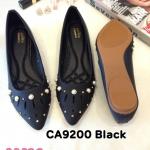 รองเท้าคัทชู ส้นแบน ทรงหัวแหลม ฉลุลายแต่งมุกสวยหรู หนังนิ่ม พื้นนิ่ม ใส่สบาย แมทสวยได้ทุกชุด (CA9200)