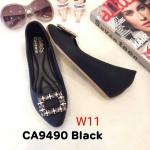 รองเท้าคัทชุู ส้นเตารีด แต่งอะไหล่สวยหรู ทรงสวย หนังนิ่ม ส้นประมาณ 2 นิ้ว ใส่สบาย แมทสวยได้ทุกชุด (CA9490)