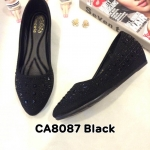 รองเท้าคัทชู ส้นเตารีด หนังสักหราดแต่งคลิสตัลรอบตัวสวยหรู หนังนิ่ม ใส่สบาย ทรงสวย แมทสวยได้ทุกชุด (CA8087)