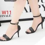 รองเท้าแฟชั่น ส้นสูง แบบสวม รัดข้อ แต่งโซ่สวยเก๋ ทรงสวย หนังนิ่ม ส้นสูงประมาณ 3 นิ้ว ใส่สบาย แมทสวยได้ทุกชุด