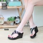 รองเท้าแฟชั่น ส้นเตารีด แบบหนีบ แต่งคลิสตัลเพชรสีทูโทนสวยหรู ใส่สบาย แมทสวยได้ทุกชุด (PU6070)