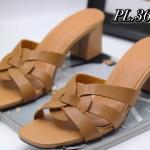 รองเท้าแฟชั่น ส้นสูง แบบสวม แต่งหนังสานด้านหน้าสไตล์อีฟแซงสวยเก๋ ทรงสวย ส้นสูงประมาณ 3 นิ้ว ใส่สบาย แมทสวยได้ทุกชุด (PU9114)