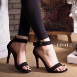 รองเท้าแฟชั่น ส้นสูง รัดข้อ สายรัดข้อแต่งเข็มขัดสวยเรียบหรู ทรงสวย หนังนิ่ม ส้นสูงประมาณ 3 นิ้ว ใส่สบาย แมทสวยได้ทุกชุด