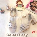 รองเท้าแฟชั่น ส้นสูง แบบสวม รัดข้อ หนังสานด้านหน้าแต่งอะไหล่ทองสายรัดข้อสวยหรู หนังนิ่ม ทรงสวย ส้นสูงประมาณ 2.5 นิ้ว ใส่สบาย แมทสวยได้ทุกชุด (CA041)