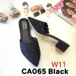 รองเท้าคัทชู เปิดส้น แต่งลายปักสวยหรู หนังนิ่ม ทรงสวย ใส่สบาย แมทสวยได้ทุกชุด (CA065)