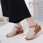รองเท้าแฟชั่น ส้นเตารีด แบบสวม รัดส้น แต่งลายน่ารัก สวยหวานสไตล์วินเทจ ทรงสวย ใส่สบาย แมทสวยได้ทุกชุด (555-2)