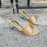 รองเท้าแฟชั่น ส้นเตารีด แบบสวม style maxi ทรงสวม ผ้าไหมซาติน ส้นใสสวยหรู สูง 3 นิ้ว หนังนิ่ม ใส่สบาย แมทสวยได้ทุกชุด (M1889)