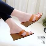 รองเท้าแฟชั่น ส้นเตารีด แบบสวม แต่งอะไหล่สวยหรู หนังนิ่ม ทรงสวย ใส่สบาย ส้นสูง 3 นิ้ว แมทสวยได้ทุกชุด (T102)