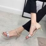 รองเท้าแฟชั่น ส้นสูง รัดส้น ดีไซน์สายคาดลายสไตล์ดิออร์สวยเก๋ ส้นสูงประมาณ 2.5 นิ้ว ใส่สบาย แมทสวยได้ทุกชุด (K9307)