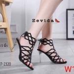 รองเท้าแฟชั่น ส้นสูง รัดข้อ ดีไซน์โมเดิร์นเส้นตารางหุ้มหน้าเท้าสวยลุคเซ็กซี่ ด้านหน้าผูกเชือกสุดเก๋ หนังนิ่ม ส้นสูง 3.5 นิ้ว ใส่สบาย แมทสวยได้ทุกชุด (17-2320)