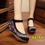 รองเท้าผ้าปักลายจีน ปักลวดลายดอกไม้สวยงาม ด้านบนมีรัดข้อกระดุมจีน พื้นยางหนาเพื่อสุขภาพเท้า เสริมด้านในส้นสูง 2 นิ้ว รองรับแรงกระแทกได้เยอะ พื้นด้านในซับฟองน้ำ ด้านนอกเป็นผ้าทอแน่นเนื้อดี ใส่สบาย แมทสวยได้ไม่เหมือนใคร