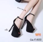 รองเท้าแฟชั่น ส้นสูง รัดข้อ ดีไซน์หรู เปิดนิ้ว ส้นสูงประมาณ 6 นิ้ว เสริมหน้า 2 นิ้ว ใส่ออกงาน ปาร์ตี้ แมทสวยโดดเด่นได้ทุกชุด (17-8233)