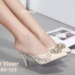รองเท้าคัทชู เปิดส้น ส้นสูง ลูกไม้ลายสวยแต่งอะไหล่ดอกไม้เพชรสไตล์ roger สวยหรู ทรงสวย ส้นสูงประมาณ 4 นิ้ว แมทสวยได้ทุกชุด (9465-103)