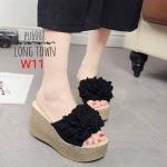 รองเท้าแฟชั่น ส้นเตารีด แบบสวม แต่งช่อดอกไม้ด้านหน้า ส้นแต่งลายเชือกถักสวยน่ารัก สไตล์วินเทจ พื้นหน้า สูงประมาณ 4.5 นิ้ว ใส่สบาย แมทเก๋ได้ทุกชุด (PU6008)