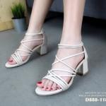 รองเท้าแฟชั่น ส้นสูง รัดข้อ ดีไซน์หนังเส้นคาดหน้าสวยเก๋มาก ซิปหลังที่ช่วยให้ใส่ง่ายขึ้นค่ะ พื้นนิ่ม สูง 3.5 นิ้ว น้ำหนักเบา หนังนิ่ม ทรงสวย ใส่สบาย แมทสวยได้ทุกชุด (D888-118)