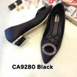 รองเท้าคัทชู ส้นเตี้ย แต่งอะไหล่เพชรสวยหรู ช หนังนิ่ม ใส่สบาย ส้นประมาณ 1.5 นิ้ว แมทสวยได้ทุกชุด (CA9280)