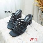 รองเท้าแฟชั่น ส้นสูง แบบสวม ดีไซน์หนังเส้นตารางหุ้มหน้าเท้า ทรงสวย เก็บเท้าเรียว หนังนิ่ม ส้นสูงประมาณ 2.5 นิ้ว ใส่สบาย แมทสวยได้ทุกชุด