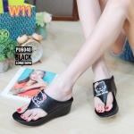 รองเท้าแฟชั่น ส้นเตารีด แบบหนีบ แต่งลายคิตตี้สวยน่ารัก ทรงสวย ใส่สบาย แมทสวยได้ทุกชุด (PU6040)