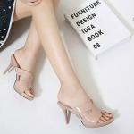 รองเท้าแฟชั่น ส้นสูง แบบสวม หนังเงานิ่ม หน้า H สไตล์แบรนด์ ทรงสวย ส้นสูงประมาณ 3 นิ้ว แมทสวยได้ทุกชุด