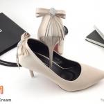 รองเท้าคััทชู ส้นสูง แต่งโบว์อะไหล่เพชรโซ่ระย้าสวยหรู ทรงสวยเพรียว ส้นสูงประมาณ 4 นิ้ว แมทสวยโดดเด่นได้ทุกชุด (K9186)