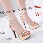 รองเท้าแฟชั่น ส้นส้น รัดข้อ MAXXI Style แต่งอะไหล่ทองคาดหน้าเท้าตามเอกลักษณ์ของแบรนด์สวยหรู ทรงสวย หนังนิ่ม รัดข้อตะขอเกียวใส่ง่าย ปรับได้สามระดับกระชับเท้า น้ำหนักเบา ส้นสูงประมาณ 4.5 นิ้ว เสริมหน้า ใส่สบาย แมทสวยได้ทุกชุด (17-2315)