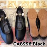 รองเท้าคัทชู ส้นแบน แต่งห่วงทองประดับมุกคาดข้อเท้าสไตล์ดิออร์สวยเก๋ ทรงหัวมน หนังนิ่ม พื้นนิ่ม ใส่สบาย แมทสวยได้ทุกชุด (CA8996)