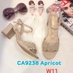 รองเท้าแฟชั่น ส้นสูง แบบสวม รัดส้น แต่งฉลุลายดอกไม้สวยหวาน หนังนิ่ม ส้นสูงประมาณ 3 นิ้ว ใส่สบาย แมทสวยได้ทุกชุด (ฺCA9238)