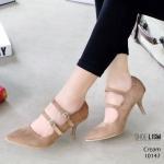 รองเท้าคัทชู ส้นสูง หนังสักหราด ดีเทลเข็มขัด 2 ตอนสวยเก๋ สายปรับได้ พื้นใส่ยางกันลื่น เกรดพรีเมี่ยม หนังนิ่ม ทรงสวย ส้นสูง 3 นิ้ว แมทสวยได้ทุกชุด (10147)