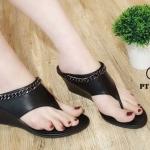 รองเท้าแฟชั่น ส้นเตารีด แบบหนีบ แต่งโซ่สวยเก๋ ทรงสวย ใส่สบาย แมทสวยได้ทุกชุด (PT103)