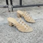 รองเท้าแฟชั่น ส้นสูง แบบสวม หนังสานตาข่าย สวยเรียบหรู หนังนิ่ม ใส่สบาย สูง 2.5 นิ้ว แมทสวยได้ทุกชุด (957-83)