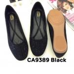 รองเท้าคัทชู ส้นแบน ทรงหัวมน แต่งคลิสตัลสวยหรู หนังนิ่ม ทรงสวย ใส่สบาย แมทสวยได้ทุกชุด (CA9389)