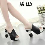 รองเท้าแฟชั่น ส้นสูง แบบสวม แต่งส้นใสสวยเก๋ ส้นสูง 11 cm เสริมหน้า 3.5 cm ทรงสวยใส่กระชับเท้า เก็บเท้าเรียวสวย แถมแมทง่าย กระโปรง เดรส หรือกางเกงได้หมด