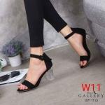 รองเท้าแฟชั่น ส้นสูง รัดข้อ หนังสักหราด แต่งส้นใสสวยเรียบหรู ทรงสวย หนังนิ่ม ส้นสูงประมาณ 3 นิ้ว ใส่สบาย แมทสวยได้ทุกชุด (G711113)