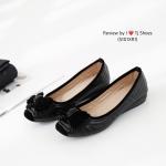รองเท้าคัทชู ส้นเตี้ย เดินเส้นลายประดับโบว์สวยหรูน่ารัก พื้นนวมนุ่ม ใส่นิ่มเดินสบายเท้า หนังนิ่ม สูง 1 นิ้ว ใส่สบาย แมทสวยได้ทุกชุด สีดำ เทา (5101XR1)