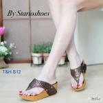 รองเท้าแฟชั่น ส้นเตารีด แบบหนีบ แต่งคลิสตัลเพชรสวยหรู ใส่สบาย ทรงสวย แมทสวยได้ทุกชุด (M1794)