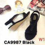 รองเท้าแฟชั่น ส้นเตารีด รัดส้น แบบสวม แต่งคลิสตัลสวยหรู หนังนิ่ม พื้นนิ่ม ทรงสวย รัดส้นยางยืดนิ่ม ใส่สบาย แมทสวยได้ทุกชุด (CA9987)