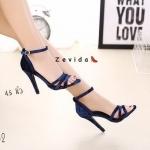 รองเท้าแฟชั่น ส้นสูง รัดข้อ หนังกำมะหยี่สวยเรียบหรู ทรงสวย ส้นสูงประมาณ 4.5 ใส่ง่าย แมทสวยได้ทุกชุด (17-4082)