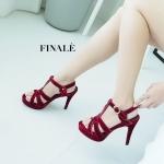 รองเท้าแฟชั่น ส้นสูง รัดส้น หนังบุกำมะหยี่ สานด้านหน้าสไตล์อีฟแซงสวยหรู อินเทรนด์ ทรงสวย หนังนิ่ม ใส่สบาย ส้นสูงประมาณ 5 นิ้ว เสริมหน้า แมทสวยได้ทุกชุด