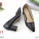 รองเท้าคัทชู ส้นสูง หนังแต่งฉลุลายสวยเก๋ หนังนิ่ม ทรงสวย ส้นตัด สูงประมาณ 3 นิ้ว ใส่สบาย แมทสวยได้ทุกชุด (K5913)