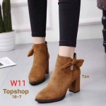 รองเท้าบูทสั้น ส้นสูง หนังสักหราดแต่งโบว์ข้างเรียบหรูน่ารัก สไตล์ Topshop ทรงสวย ส้นตัดสูงประมาณ 4 นิ้ว ซิปข้าง ใส่สบาย แมทสวยได้ทุกชุด (18-7)