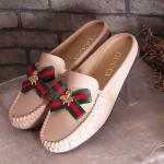 รองเท้าคัทชู เปิดส้น ทรง loafer แต่งโบว์แถบสีและอะไหล่สไตล์กุชชี่สวยหรู ทรงสวย ใส่สบาย แมทสวยได้ทุกชุด (FT-455)
