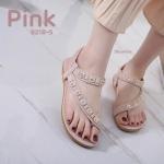รองเท้าแตะแฟชั่น รัดส้น แบบสวมนิ้วโป้ง คาดหน้าเฉียงแต่งอะไหล่สวยหรู ยางยืดนิ่ม พื้นนิ่ม ใส่สบาย แมทสวยได้ทุกชุด (B218-5)