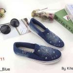 รองเท้าผ้าใบแฟชั่น ทรง slip on สียีนส์แต่งหมุดดาวสวยเก๋ วัสดุอย่างดี ทรงสวย ใส่สบาย แมทสวยเท่ห์ได้ทุกชุด (D37-D)