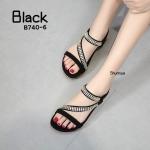 รองเท้าแตะแฟชั่น แบบสวม รัดส้น คาดหน้าเฉียงแต่งอะไหล่เพชรคลิสตัลสวยหรู ทรงสวย พื้นนิ่ม รัดส้นยางยืดนิ่ม ใส่สบาย แมทสวยได้ทุกชุด (B740-6)